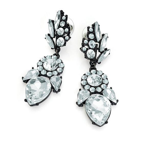 Black enamel colour crystal drop earring