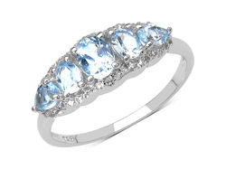 En-Vie™ Jewellery Stunning Silver and Topaz Ring, comprising of 5 beautiful topaz stones set side by side