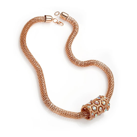rose crystal barrel design necklace and chain