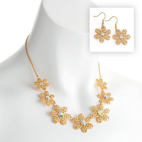 En vie Jewellery Matt gold colour crystal flower design chain necklace and earring set