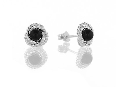 En-Vie™ Jewellery Silver Black Onyx Studs, 4mm, with rope surround. Total width 8mm Approx. Weight 1.53GM.