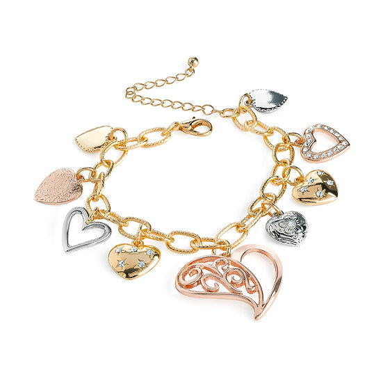Three tone rose gold charm bracelet