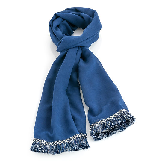 En vie Jewellery Blue tone fringe design scarf