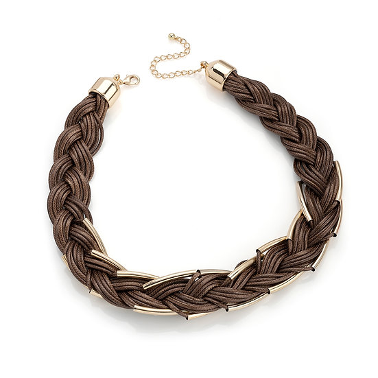 En vie jewellery brown cord gold colour tube effect plaited necklace