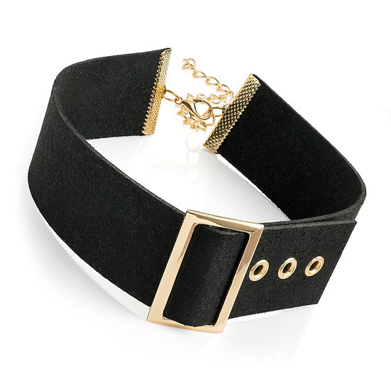 Black and gold colour buckle design choker necklace