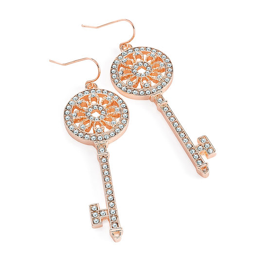 En vie Jewellery Rose gold colour crystal key design drop earring.