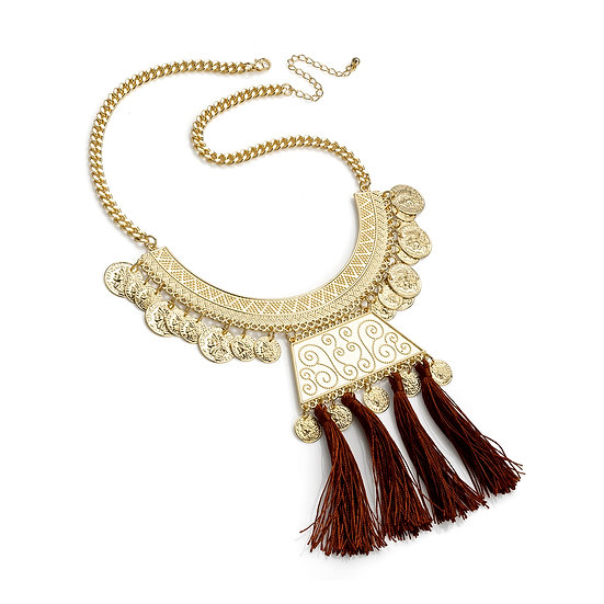 En vie Jewellery Shiny gold colour burgundy cord tribal look chain necklace