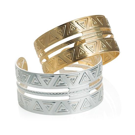 Worn gold and silver cuff bangle