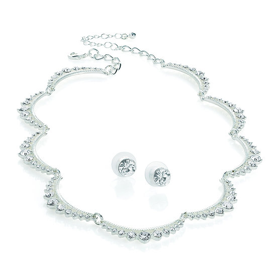 En vie Jewellery Silver colour crystal choker necklace and stud earring set