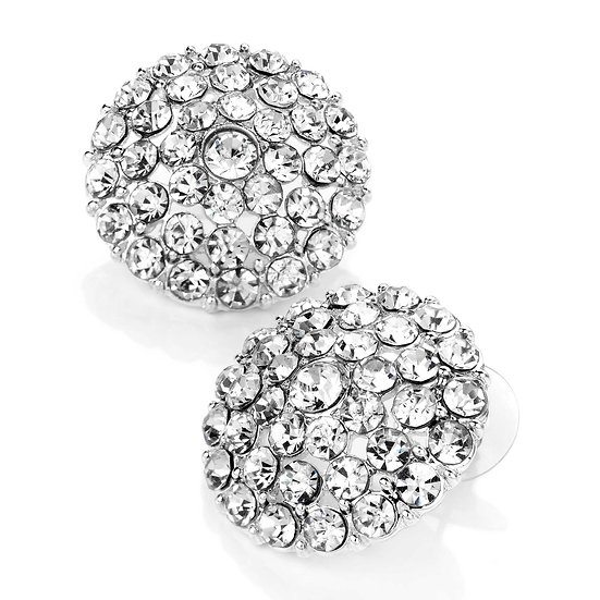 Shiny silver colour crystal round earrings