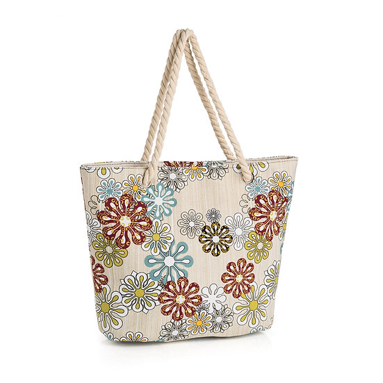 En vie Jewellery Brown tone flower print bag with rope handle