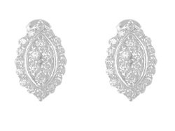 En-Vie™ jewellery Silver Oval shaped Cubic Zirconia Earrings, Pave set with sparkling Cubic Zirconia stones