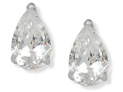 En-Vie™ jewellery Stirling Silver Pear shaped sparkling Cubic Zirconia Stud Earrings.