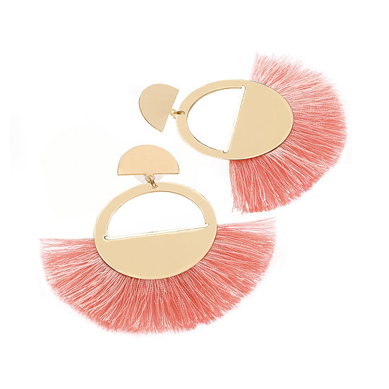 En vie Jewellery Gold and coral colour thread round tassel earring