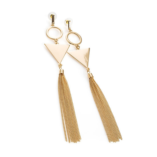 Gold colour long tassel earring
