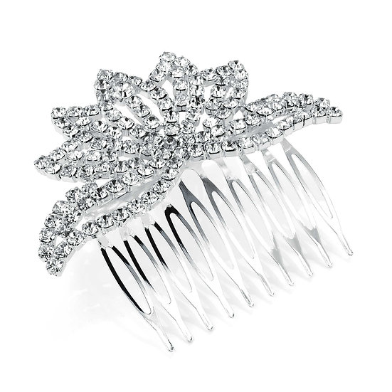 Shiny silver flower design crystal hair comb