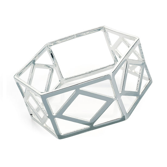 Shiny silver colour hexagon shape bangle