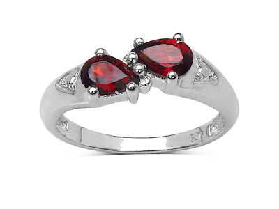 En-Vie™ jewellery Rhodium Plated Silver and Garnet Ring, the January Birthstone