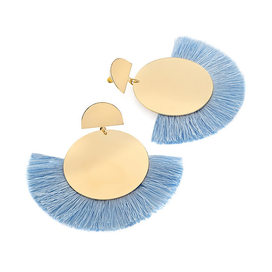 En vie Jewellery Gold colour blue thread round tassel earring