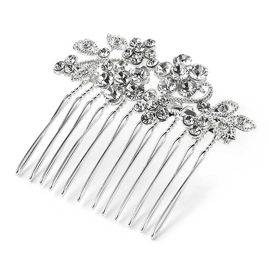 Flower design silver crystal wire hair comb