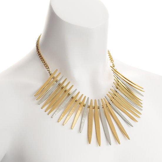 En vie Jewellery Two tone gold and rhodium colour spike design chain necklace