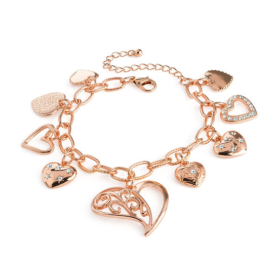 Rose gold colour crystal heart charm bracelet