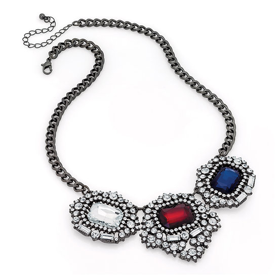 Hematite grey, red, blue and crystal necklace