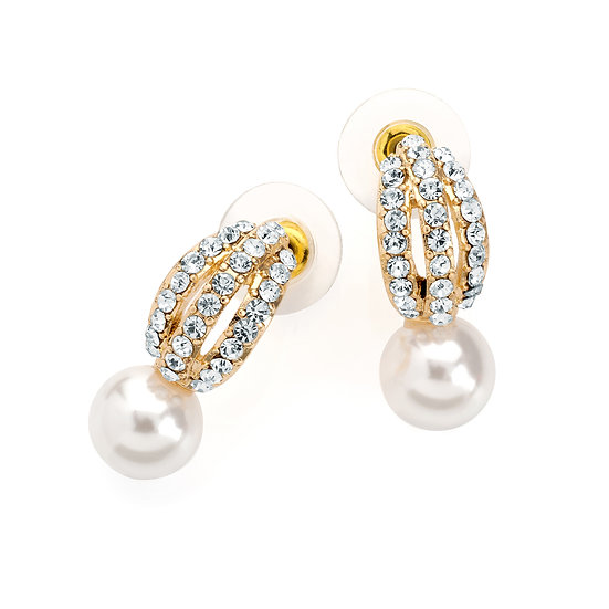 Gold colour crystal cream pearl earrings