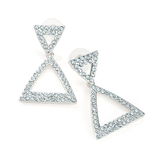 En vie Jewellery Silver colour crystal triangle design post earring