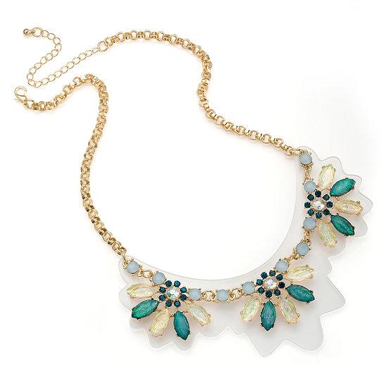 En vie jewellery Gold colour blue tone acrylic design chain necklace