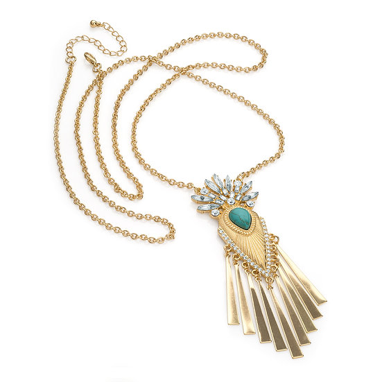 En vie jewellery gold crystal turquoise bead effect chain charm necklace