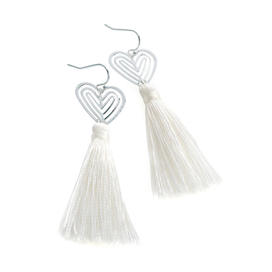 En vie Jewellery Silver colour and white thread heart design tassel drop earring
