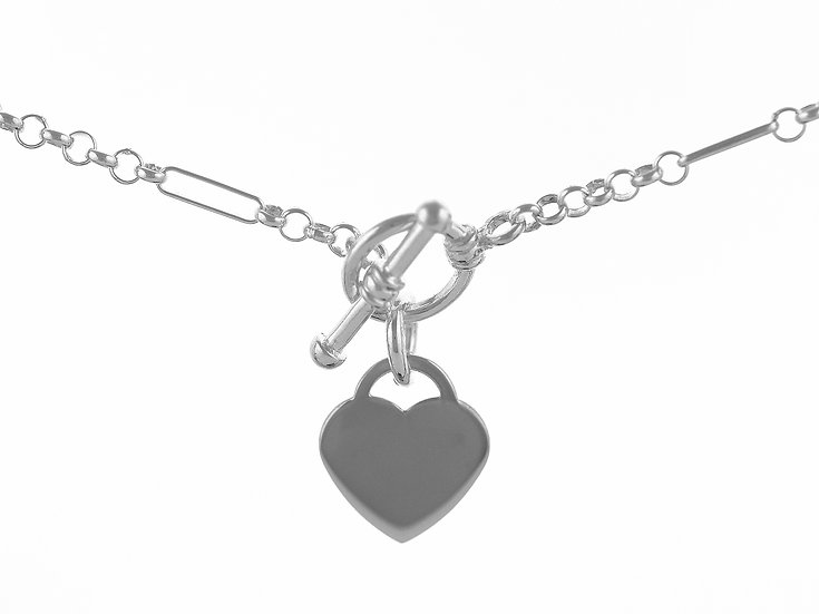 En vie Jewellery Sterling Silver handmade Bracelet 19cm length, finished with Ring T-Bar and Heart, made in the UK