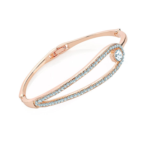 En-Vie™ jewellery Stunning light rose gold colour diamante metal hinge bangle. Perfect on smaller wrists.