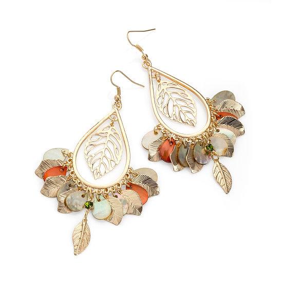 Gold shell look leaf design charm earrings