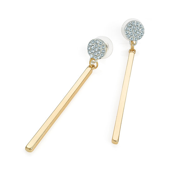 Two tone silver and gold colour crystal drop earring
