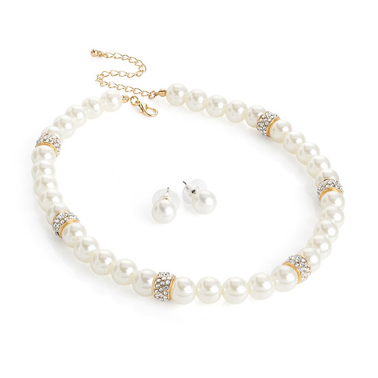 Crystal cream pearl effect bead necklace set
