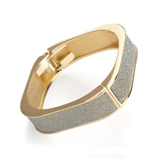 Gold colour silver effect glitter square hinge bangle
