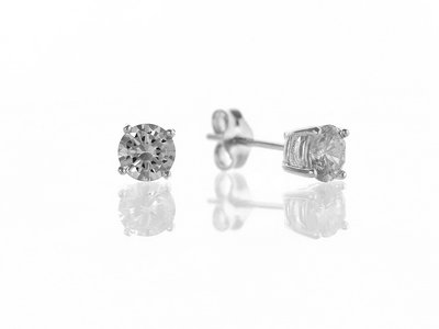 En-Vie™ jewellery Silver 5mm Round CZ Stud Earrings Approx. Weight 1 GM