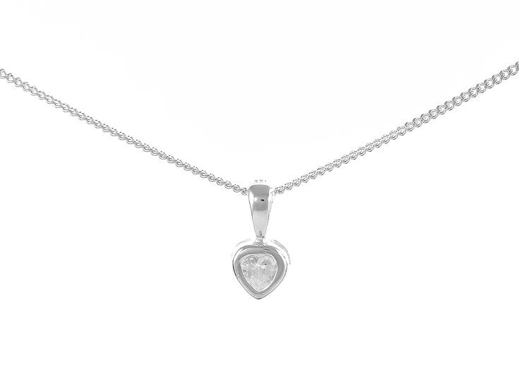 En-Vie™ jewellery Silver White Heart Cubic Zirconia Necklace 6.8mm X 7.7mm.