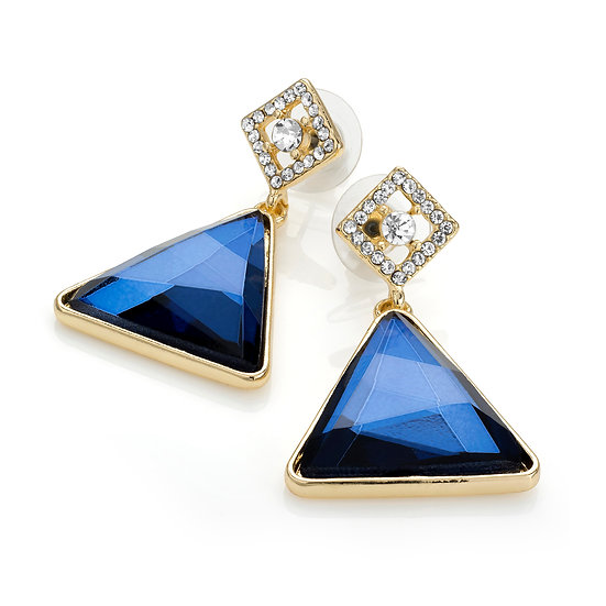 Gold colour blue glass bead triangle shape post earring