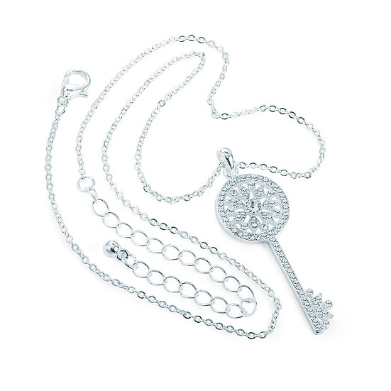 En vie Jewellery Silver colour crystal key design chain necklace