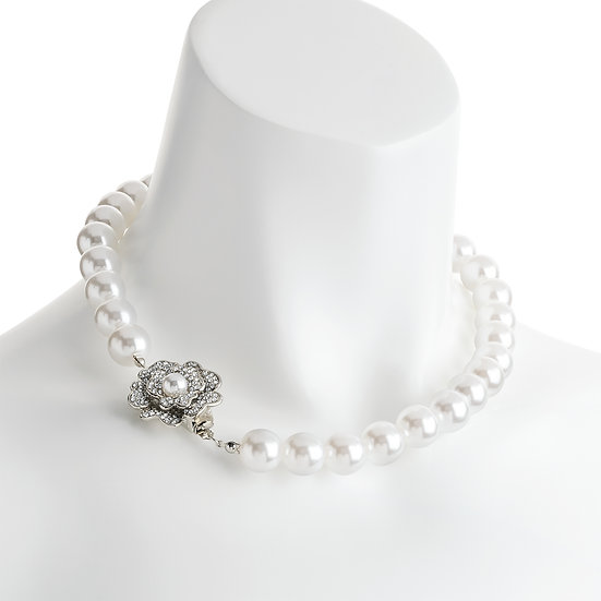 Rhodium and crystal white pearl effect flower necklace