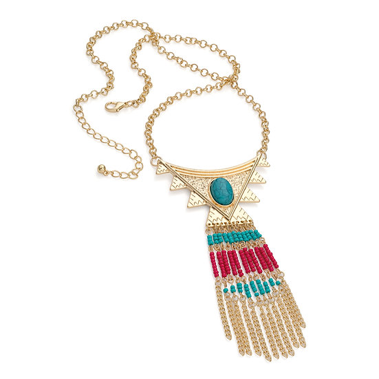 Gold turquoise and red bead tribal look charm necklace