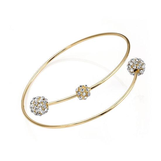 Shiny gold colour crystal ball arm bangle