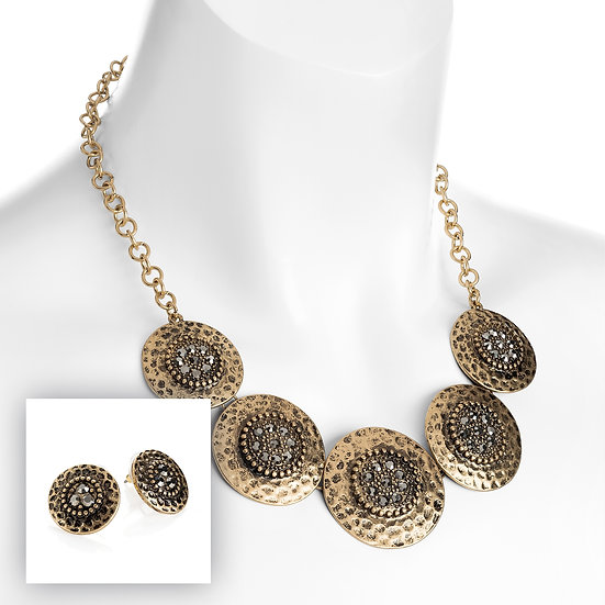Burnished copper, hematite crystal effect disc necklace & earrings