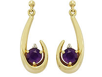 9ct Gold Amethyst Earring Droppers