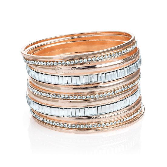 En vie Jewellery Eleven piece rose gold colour crystal bangle set