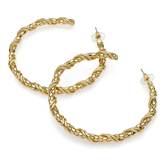 Gold colour large chain effect post hoop earring