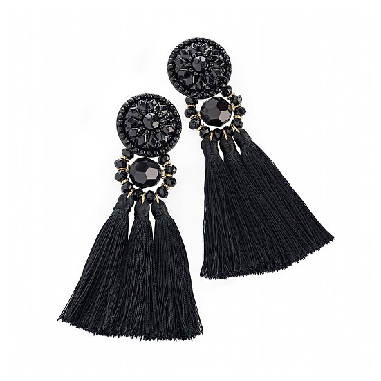 En vie Jewellery Black tone thread tassel drop earring